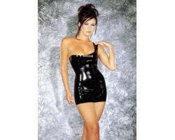 Латексное мини-платье с открытым плечиком, M, черный