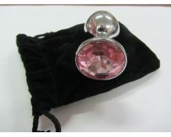 Серебристая анальная пробка среднего размера с розовым кристаллом - 8 см.