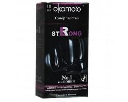 Супер прочные презервативы чёрного цвета Okamoto Strong - 10 шт.