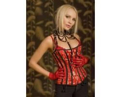 Роскошный женский корсет с золотистым узором на ткани, M-L, красный