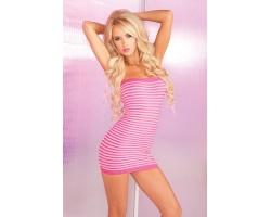 Полосатое платье-труба без бретелей SUPER STRIPES TUBE DRESS, S-M-L, розовый