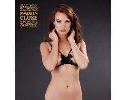 Открытый бюстгальтер Cupless bra with bow Petit secret, S, черный