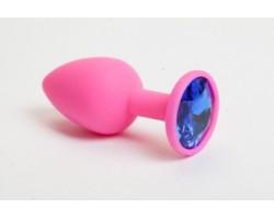 Розовая силиконовая пробка с синим стразом - 7,1 см.