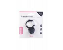 Чёрное виброкольцо для пениса Power Heart Clit Cockring
