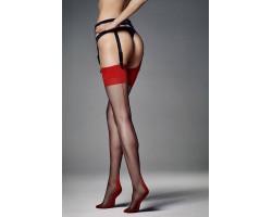 Тонкие чулочки с контрастными вставками Calze Leticia , 1-2 размер, черный с красным