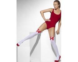 Чулки медсестрички с красными бантами, S-M-L, белый с красным