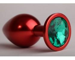 Красная анальная пробка с зеленым стразом - 6,9 см.
