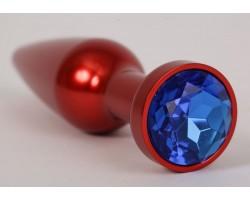 Большая красная анальная пробка с синим стразом - 11,2 см.