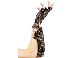 Короткие кружевные перчатки с открытыми пальчиками, S-M-L, черный