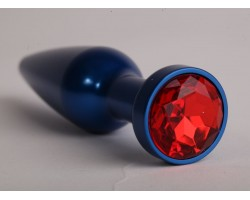 Большая синяя анальная пробка с красным стразом - 11,2 см.