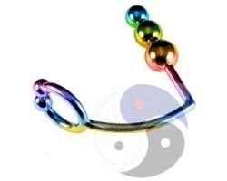 Радужное эрекционное кольцо с анальной ёлочкой Rainbow Horse Shoe Cock Ring with Trio of Anal Balls