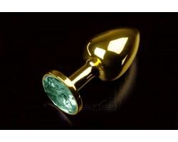 Маленькая золотистая анальная пробка с круглым кончиком и изумрудным кристаллом - 7 см.