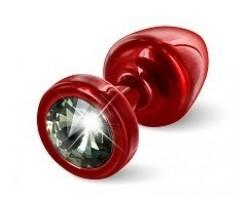 Красная анальная пробка с чёрным кристаллом ANNI round Red T1 Black Diamond - 6 см.