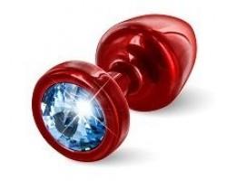 Красная пробка с голубым кристаллом ANNI round Red T1 Blue - 6 см.