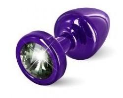 Фиолетовая пробка с черным кристаллом ANNI round Purple T1 Black Diamond - 6 см.