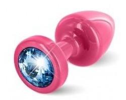 Розовая пробка с голубым кристаллом ANNI round Pink T1 Blue - 6 см.