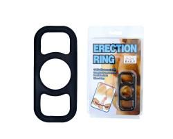 Чёрное эрекционное кольцо на пенис с петлями по бокам