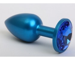 Синяя анальная пробка с синим стразом - 7,6 см.