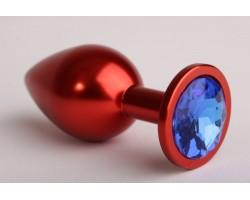 Красная анальная пробка с синим стразом - 7,6 см.