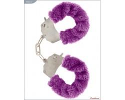 Металлические наручники с фиолетовым мехом
