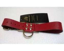 Широкие красные ременные наручники с полукольцом
