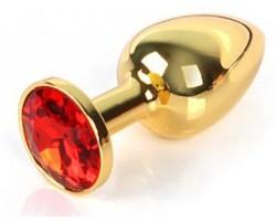 Золотистая анальная пробка с красным кристаллом размера L - 9 см.