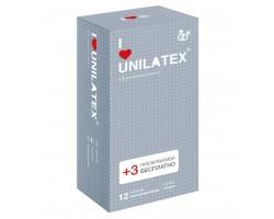 Презервативы с точками Unilatex Dotted - 12 шт. + 3 шт. в подарок