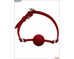 Красный силиконовый дышащий кляп-шар с фиксацией