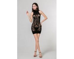 Эффектное платье-сетка с открытыми плечами