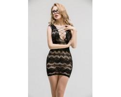 Сетчатое платье с имитацией шнуровки на груди и спинке