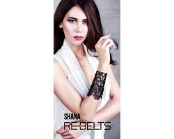 Резной широкий кожаный браслет Shana