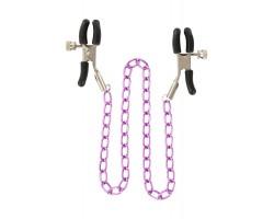 Зажимы для сосков Nipple Chain Metal на фиолетовой цепочке