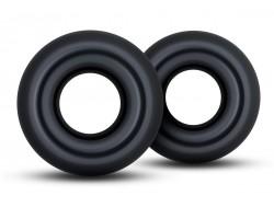 Набор из 2 черных колец Stay Hard Donut Rings Oversized