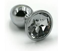 Серебристая алюминиевая анальная пробка с прозрачным кристаллом - 7 см.
