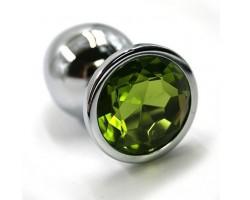 Серебристая алюминиевая анальная пробка с светло-зеленым кристаллом - 6 см.