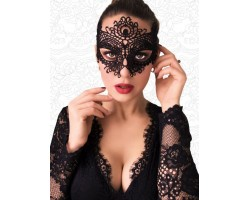 Чёрная высокая кружевная маска с крупным цветком в верхней части