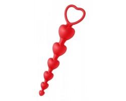 Красные анальные бусы Sweet Heart Silicone Anal Beads - 18,4 см.